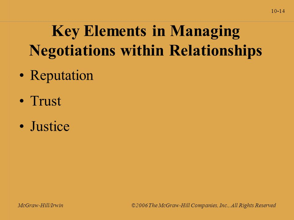 10-14 McGraw-Hill/Irwin ©2006 The McGraw-Hill Companies, Inc., All Rights Reserved Key Elements in Managing Negotiations within Relationships Reputation Trust Justice