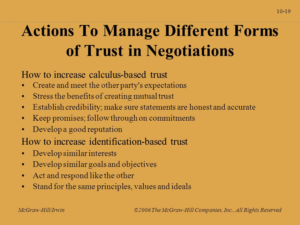 10-19 McGraw-Hill/Irwin ©2006 The McGraw-Hill Companies, Inc., All Rights Reserved Actions To Manage Different Forms of Trust in Negotiations How to increase calculus-based trust Create and meet the other party s expectations Stress the benefits of creating mutual trust Establish credibility; make sure statements are honest and accurate Keep promises; follow through on commitments Develop a good reputation How to increase identification-based trust Develop similar interests Develop similar goals and objectives Act and respond like the other Stand for the same principles, values and ideals