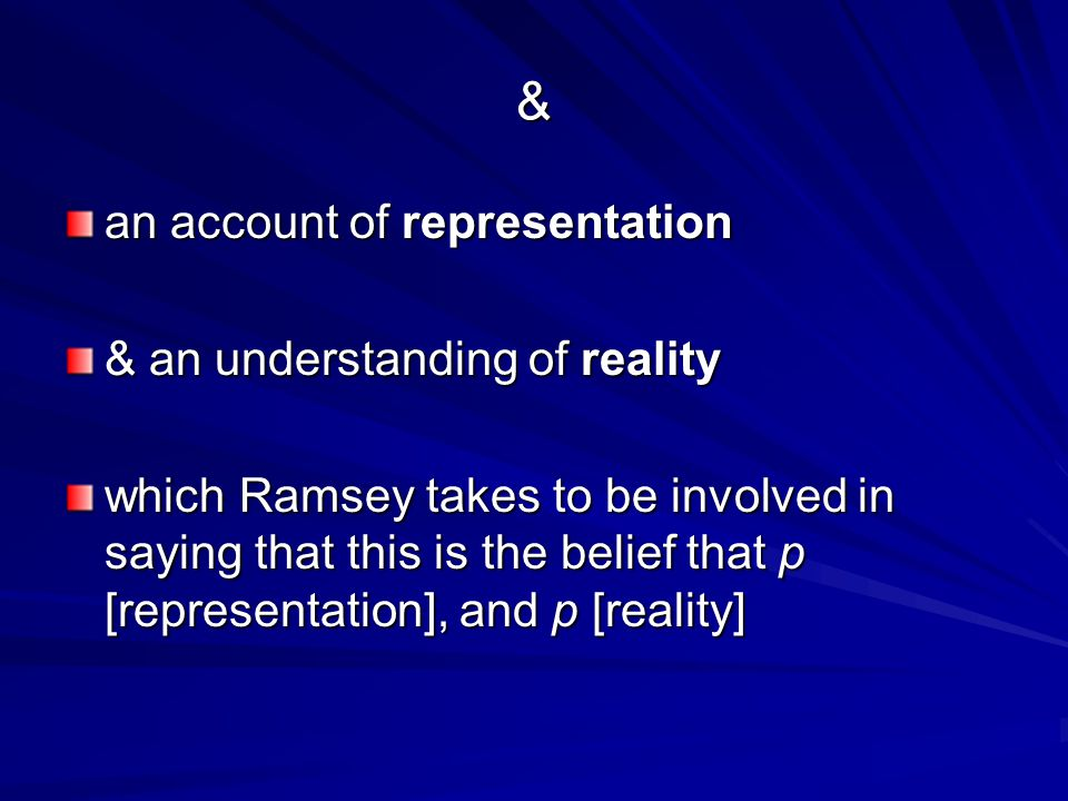 & an account of representation & an understanding of reality which Ramsey takes to be involved in saying that this is the belief that p [representation], and p [reality]