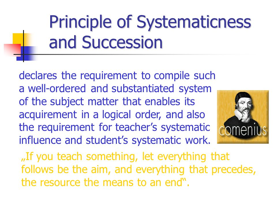 Principle of Systematicness and Succession declares the requirement to compile such a well-ordered and substantiated system of the subject matter that