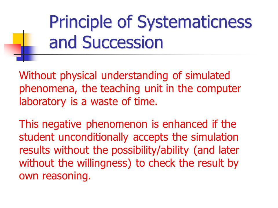 Principle of Systematicness and Succession Without physical understanding of simulated phenomena, the teaching unit in the computer laboratory is a wa