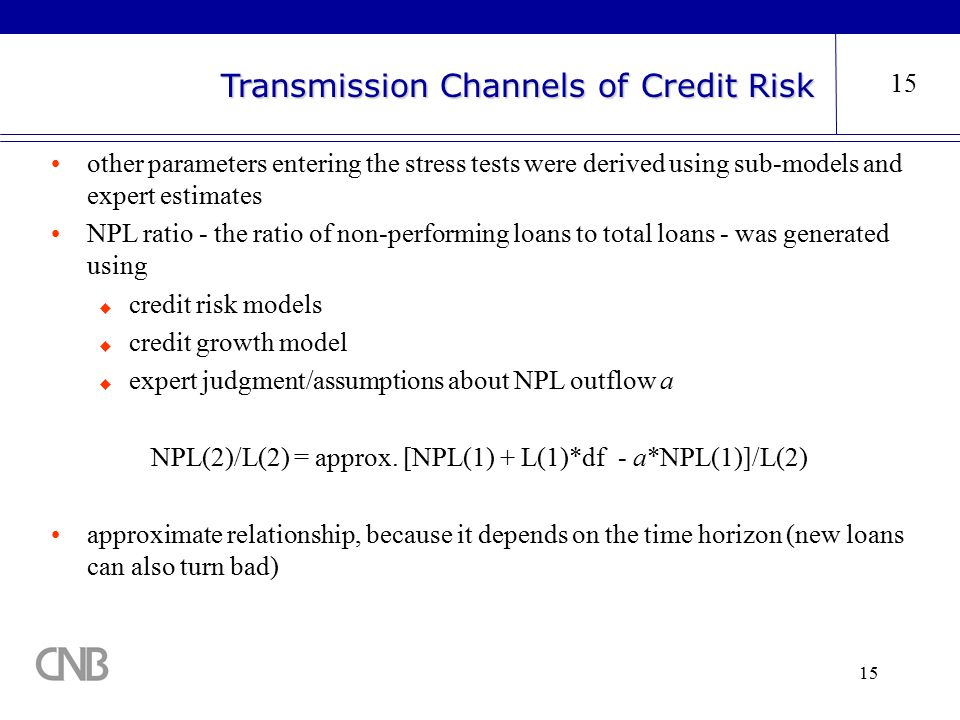 15 Transmission Channels of Credit Risk 15 other parameters entering the stress tests were derived using sub-models and expert estimates NPL ratio - the ratio of non-performing loans to total loans - was generated using  credit risk models  credit growth model  expert judgment/assumptions about NPL outflow a NPL(2)/L(2) = approx.