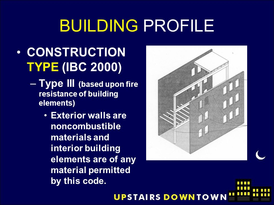 BUILDING PROFILE CONSTRUCTION TYPE (IBC 2000) –Type III (based upon fire resistance of building elements) Exterior walls are noncombustible materials