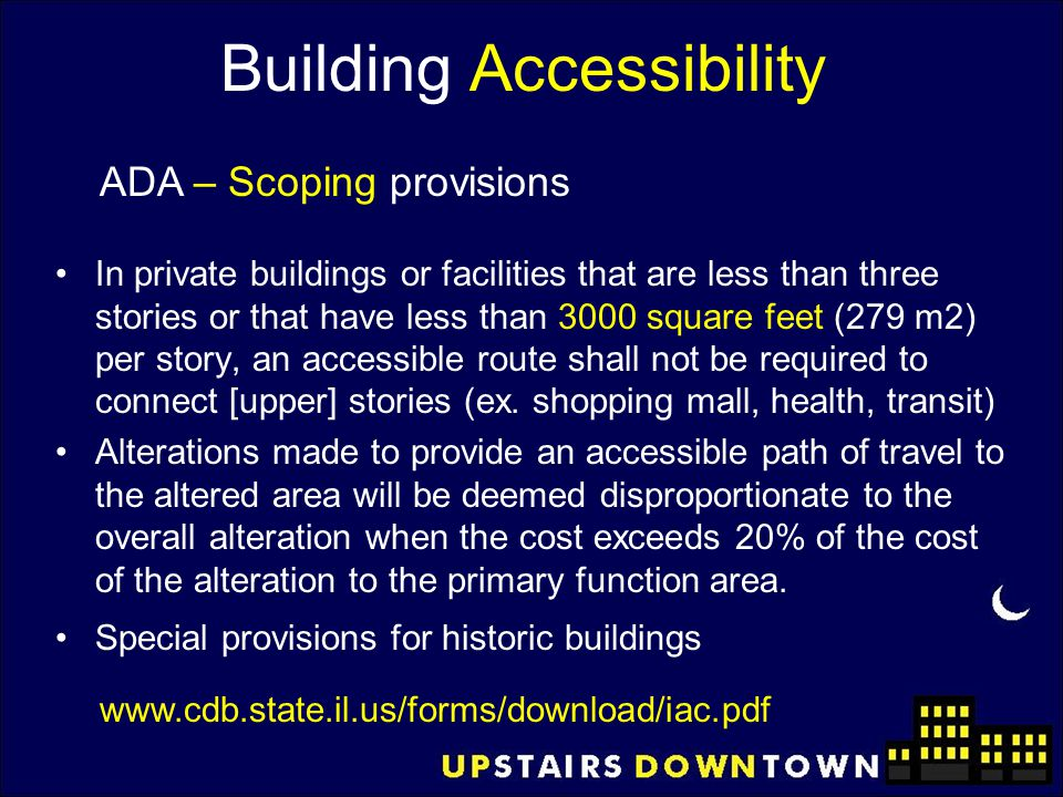 Building Accessibility In private buildings or facilities that are less than three stories or that have less than 3000 square feet (279 m2) per story,