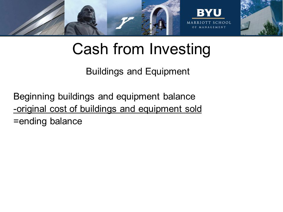 Cash from Investing Buildings and Equipment Beginning buildings and equipment balance -original cost of buildings and equipment sold =ending balance