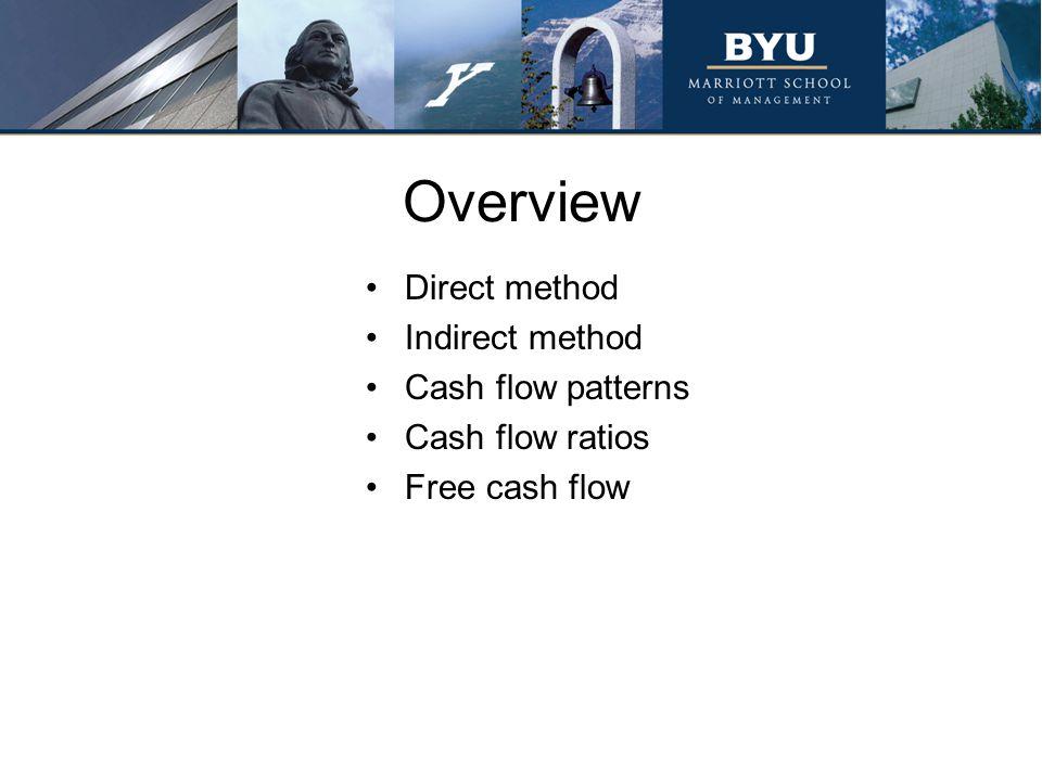 Overview Direct method Indirect method Cash flow patterns Cash flow ratios Free cash flow