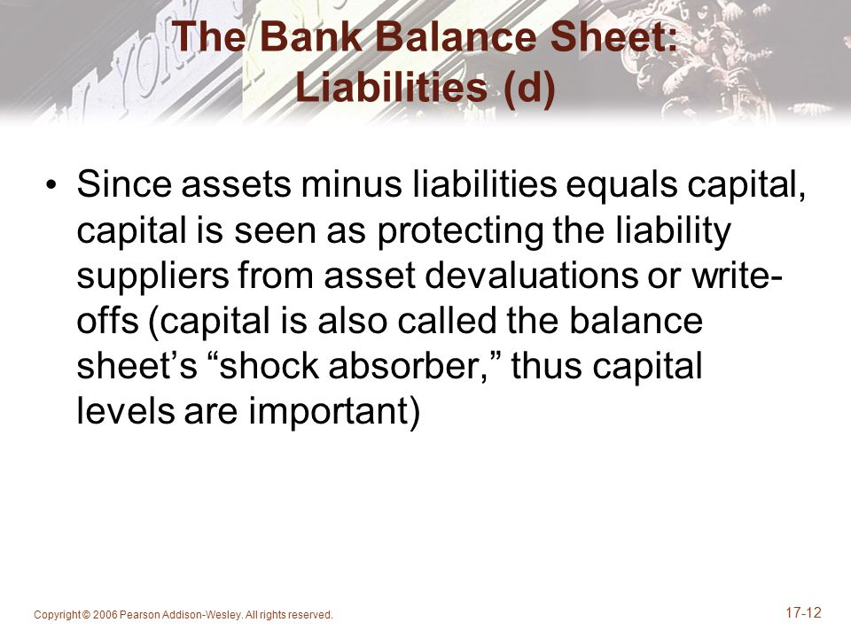Copyright © 2006 Pearson Addison-Wesley. All rights reserved. 17-12 The Bank Balance Sheet: Liabilities (d) Since assets minus liabilities equals capi