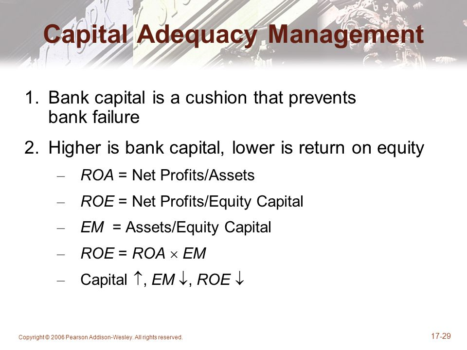 Copyright © 2006 Pearson Addison-Wesley. All rights reserved. 17-29 Capital Adequacy Management 1.Bank capital is a cushion that prevents bank failure