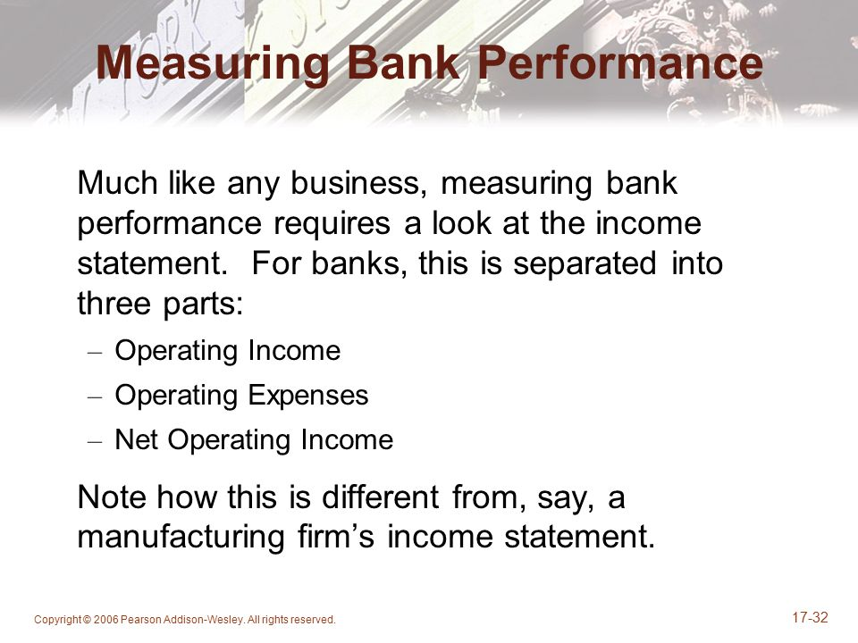 Copyright © 2006 Pearson Addison-Wesley. All rights reserved. 17-32 Measuring Bank Performance Much like any business, measuring bank performance requ