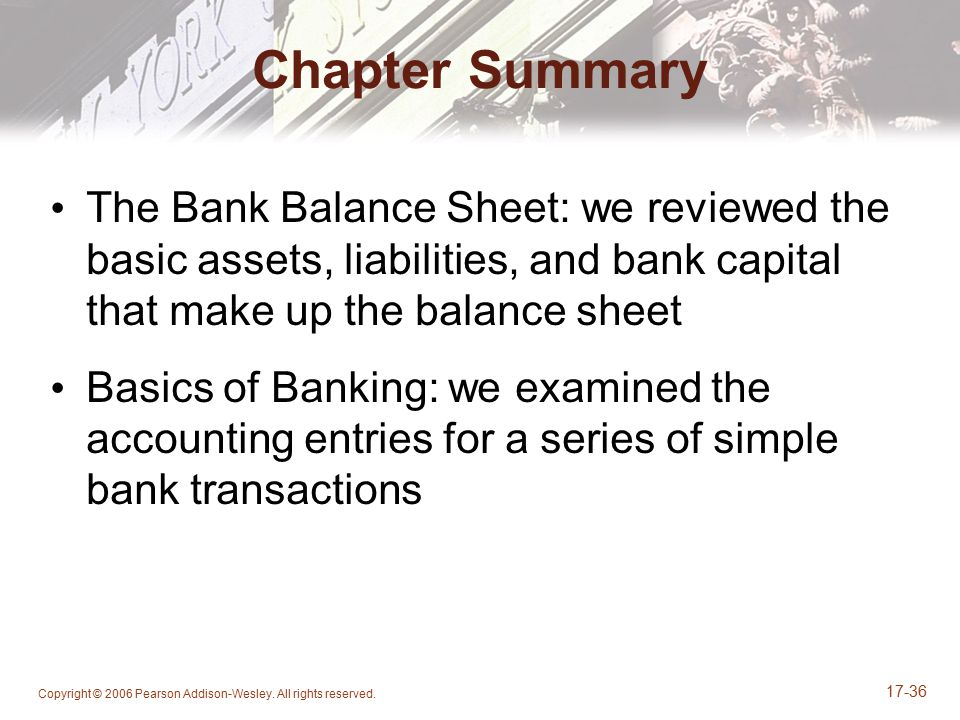 Copyright © 2006 Pearson Addison-Wesley. All rights reserved. 17-36 Chapter Summary The Bank Balance Sheet: we reviewed the basic assets, liabilities,