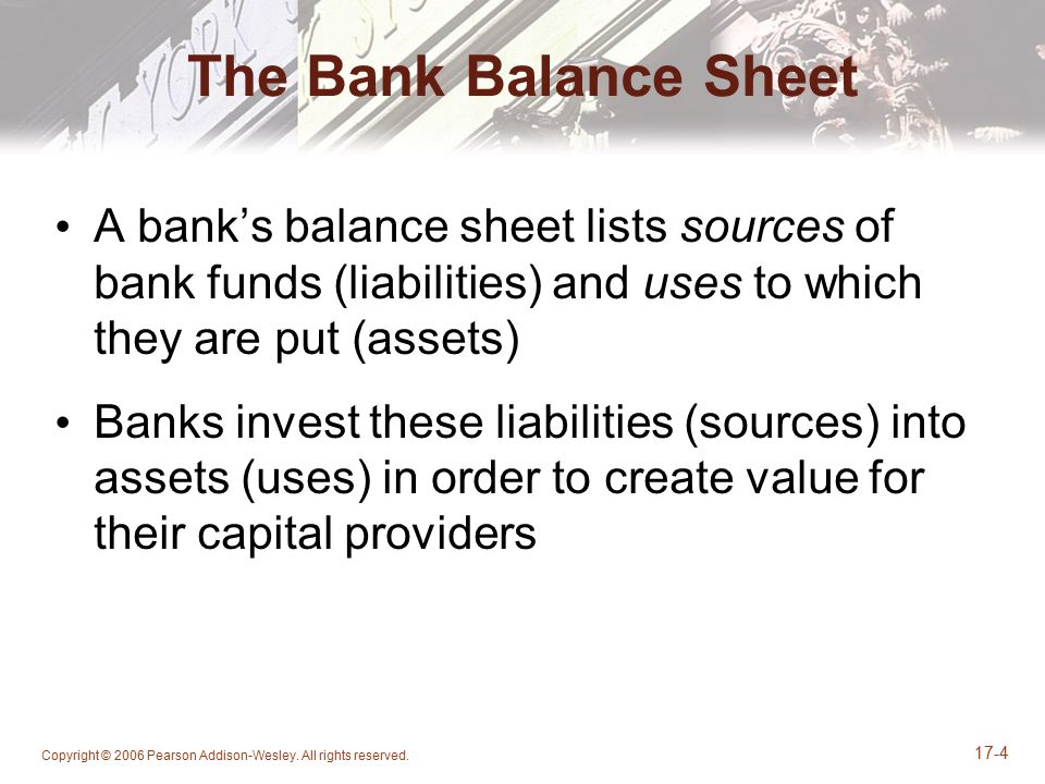 Copyright © 2006 Pearson Addison-Wesley. All rights reserved. 17-4 The Bank Balance Sheet A bank's balance sheet lists sources of bank funds (liabilit