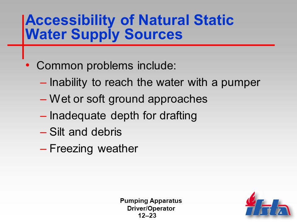 Pumping Apparatus Driver/Operator 12–23 Accessibility of Natural Static Water Supply Sources Common problems include: –Inability to reach the water wi