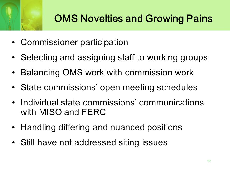 19 OMS Novelties and Growing Pains Commissioner participation Selecting and assigning staff to working groups Balancing OMS work with commission work State commissions' open meeting schedules Individual state commissions' communications with MISO and FERC Handling differing and nuanced positions Still have not addressed siting issues