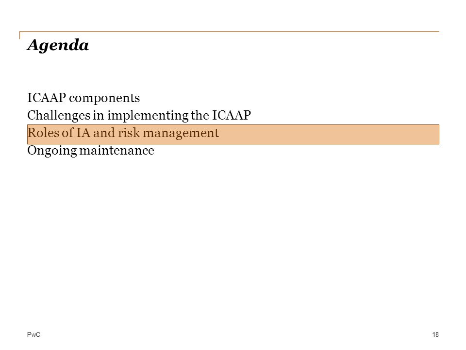 PwC Agenda ICAAP components Challenges in implementing the ICAAP Roles of IA and risk management Ongoing maintenance 18