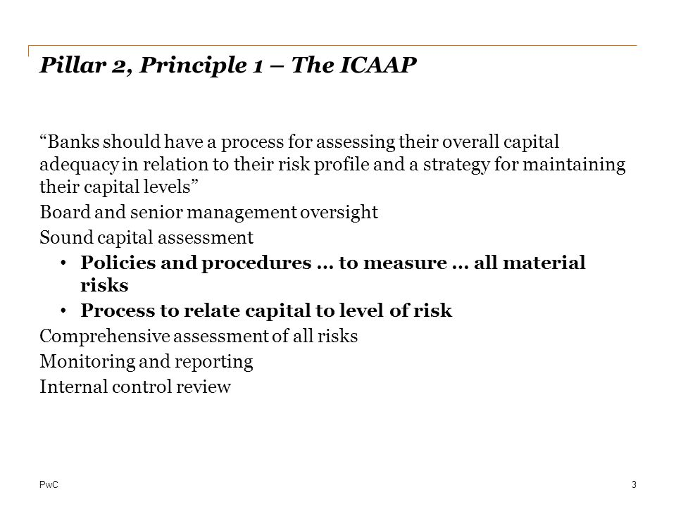 PwC ICAAP Principles - CEBS I.Every institution must have a process for assessing its capital adequacy relative to its risk profile (an ICAAP) II.The ICAAP is the responsibility of the institution.
