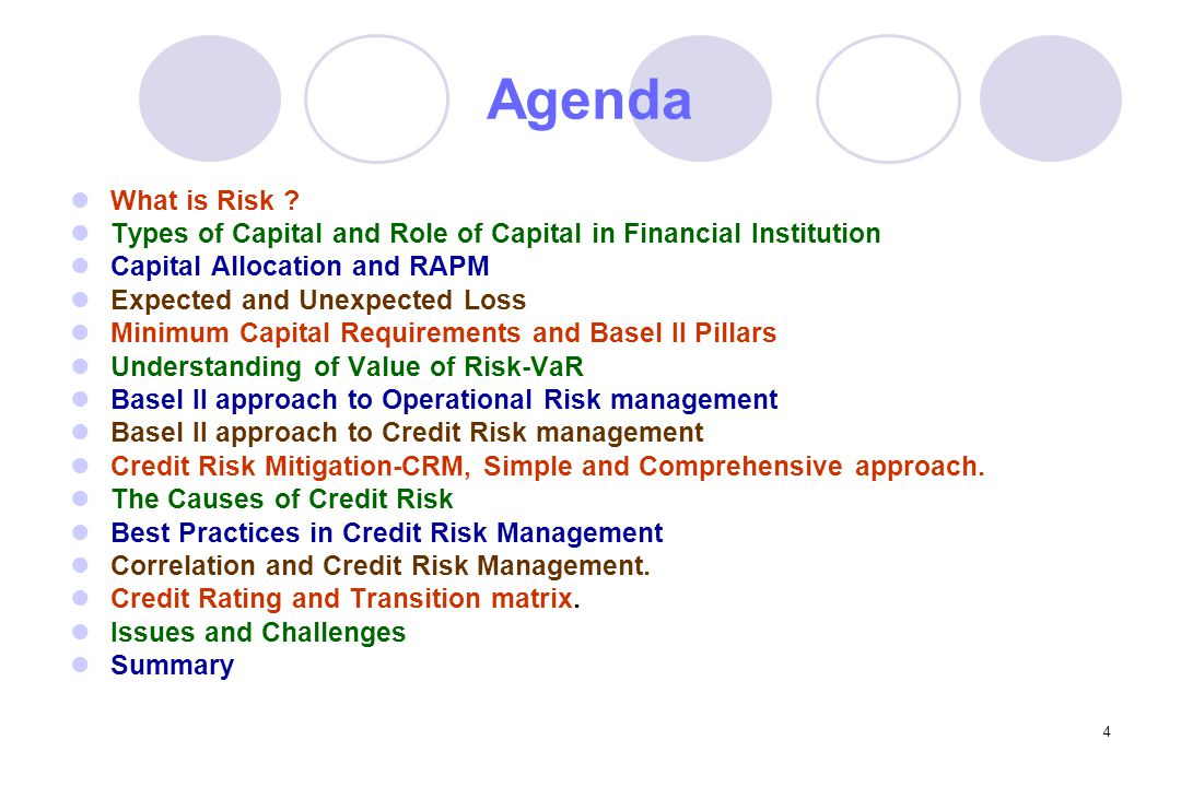 4 Agenda What is Risk .