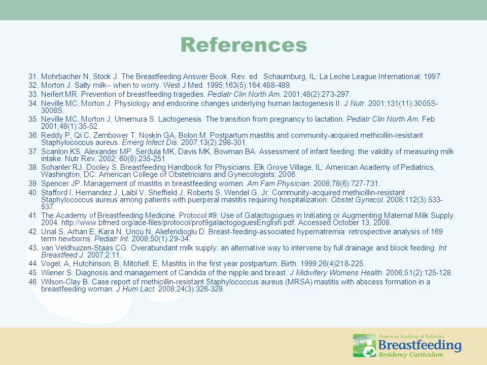 References 31.Mohrbacher N, Stock J. The Breastfeeding Answer Book. Rev. ed. Schaumburg, IL: La Leche League International; 1997. 32.Morton J. Salty m