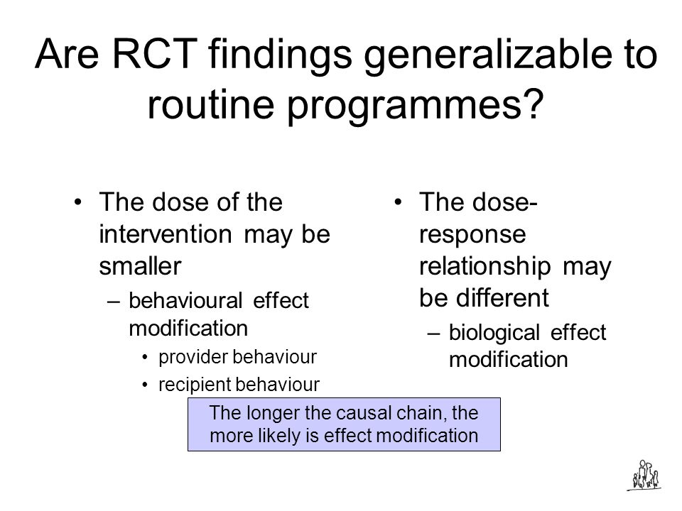 Are RCT findings generalizable to routine programmes.