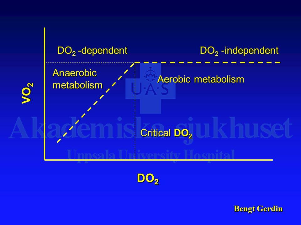 Bengt Gerdin DO 2 VO 2 Aerobic metabolism Anaerobic metabolism Critical DO 2 DO 2 -dependent DO 2 -independent