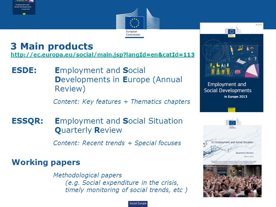 Social Europe 3 Main products http://ec.europa.eu/social/main.jsp langId=en&catId=113 http://ec.europa.eu/social/main.jsp langId=en&catId=113 ESDE: Employment and Social Developments in Europe (Annual Review) Content: Key features + Thematics chapters ESSQR:Employment and Social Situation Quarterly Review Content: Recent trends + Special focuses Working papers Methodological papers (e.g.