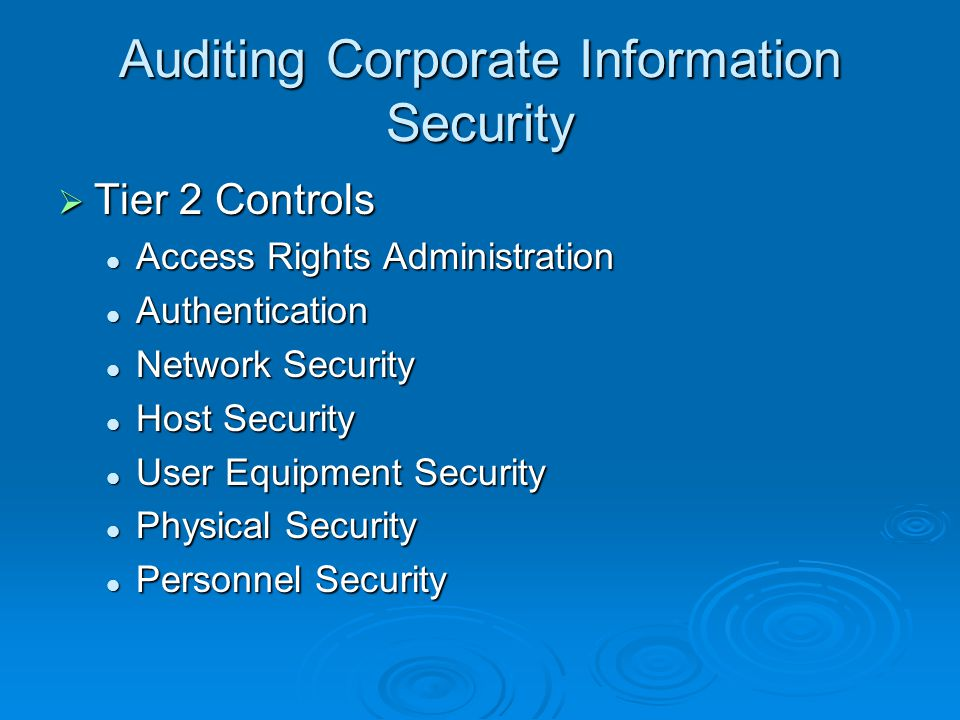 Auditing Corporate Information Security  Tier 2 Controls Access Rights Administration Access Rights Administration Authentication Authentication Network Security Network Security Host Security Host Security User Equipment Security User Equipment Security Physical Security Physical Security Personnel Security Personnel Security