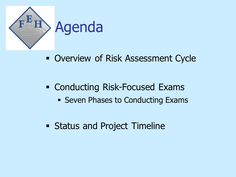 Risk Assessment Cycle INSURER PROFILE SUMMARY Internal/External Changes Examination Priority System Supervisory Plan Risk Based Examination Identify Functional Activities Identify/Assess Inherent Risk Identify & Evaluate Controls Determine Residual Risk Establish Procedures and Conduct Exam Update Supervisory Plan Exam Report//Mgmt Letter Develop Ongoing Supervision That Includes: Frequency of Exams Scope of Exams Meetings with Company Management Follow-Up on Recommendations Financial Analysis Monitoring Priority System Based on Dept.