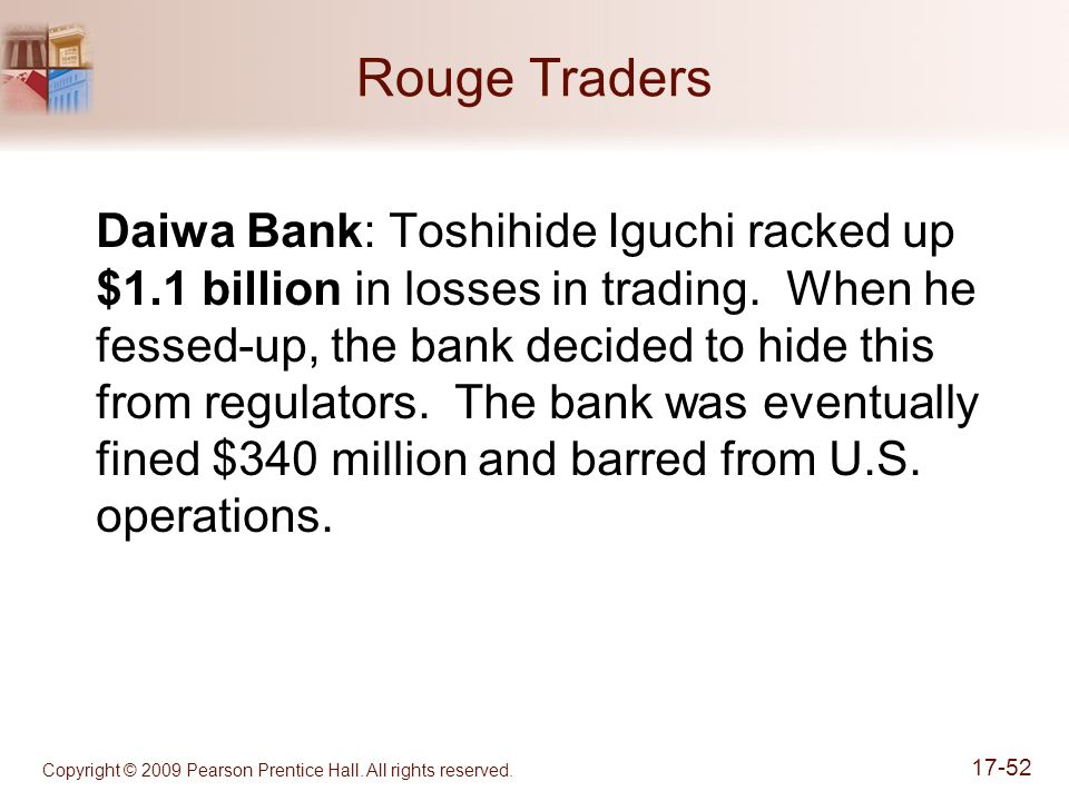 Copyright © 2009 Pearson Prentice Hall. All rights reserved. 17-52 Rouge Traders Daiwa Bank: Toshihide Iguchi racked up $1.1 billion in losses in trad