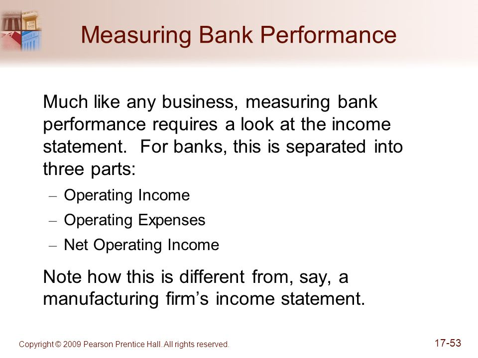 Copyright © 2009 Pearson Prentice Hall. All rights reserved. 17-53 Measuring Bank Performance Much like any business, measuring bank performance requi