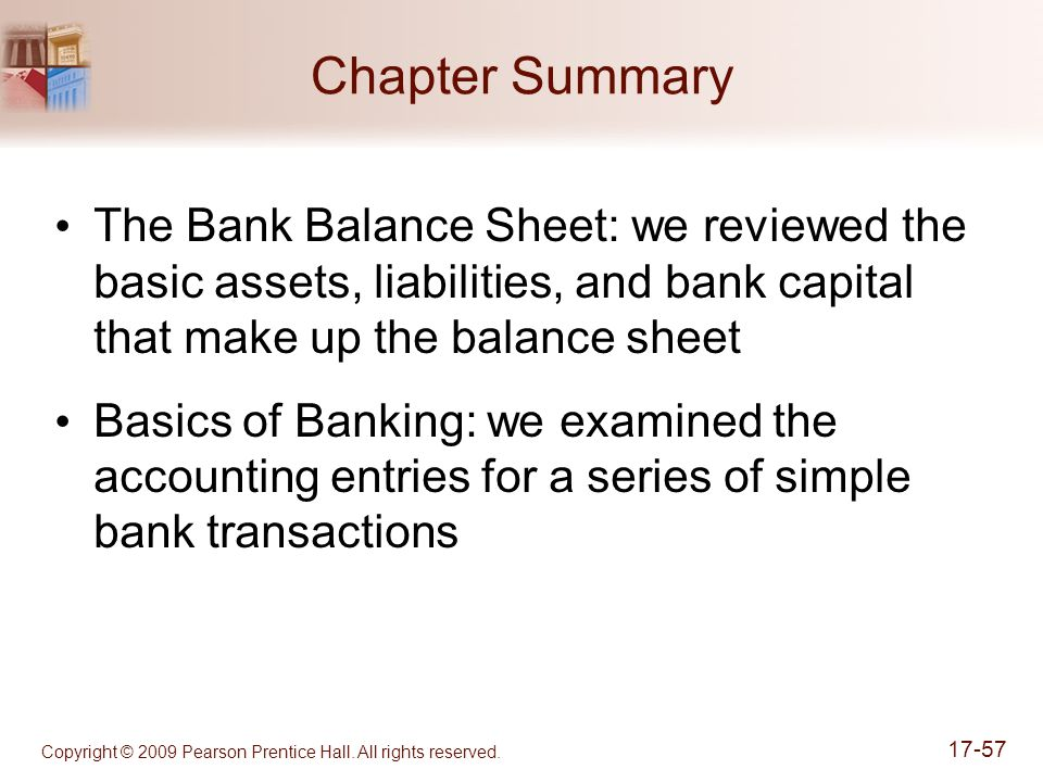 Copyright © 2009 Pearson Prentice Hall. All rights reserved. 17-57 Chapter Summary The Bank Balance Sheet: we reviewed the basic assets, liabilities,
