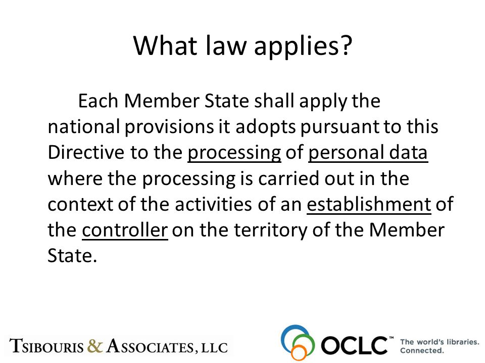 What law applies? Each Member State shall apply the national provisions it adopts pursuant to this Directive to the processing of personal data where