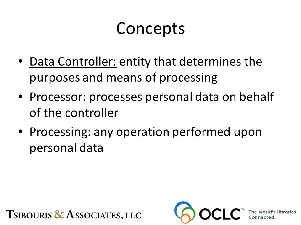 Concepts Data Controller: entity that determines the purposes and means of processing Processor: processes personal data on behalf of the controller P
