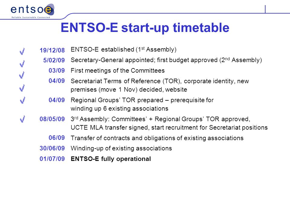 ENTSO-E start-up timetable ENTSO-E established (1 st Assembly) Secretary-General appointed; first budget approved (2 nd Assembly) First meetings of the Committees Secretariat Terms of Reference (TOR), corporate identity, new premises (move 1 Nov) decided, website Regional Groups' TOR prepared – prerequisite for winding up 6 existing associations 3 rd Assembly: Committees' + Regional Groups' TOR approved, UCTE MLA transfer signed, start recruitment for Secretariat positions Transfer of contracts and obligations of existing associations Winding-up of existing associations ENTSO-E fully operational 19/12/08 5/02/09 03/09 04/09 08/05/09 06/09 30/06/09 01/07/09