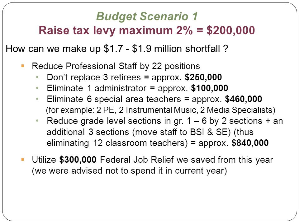 Budget Scenario 1 Raise tax levy maximum 2% = $200,000 How can we make up $1.7 - $1.9 million shortfall ?  Reduce Professional Staff by 22 positions