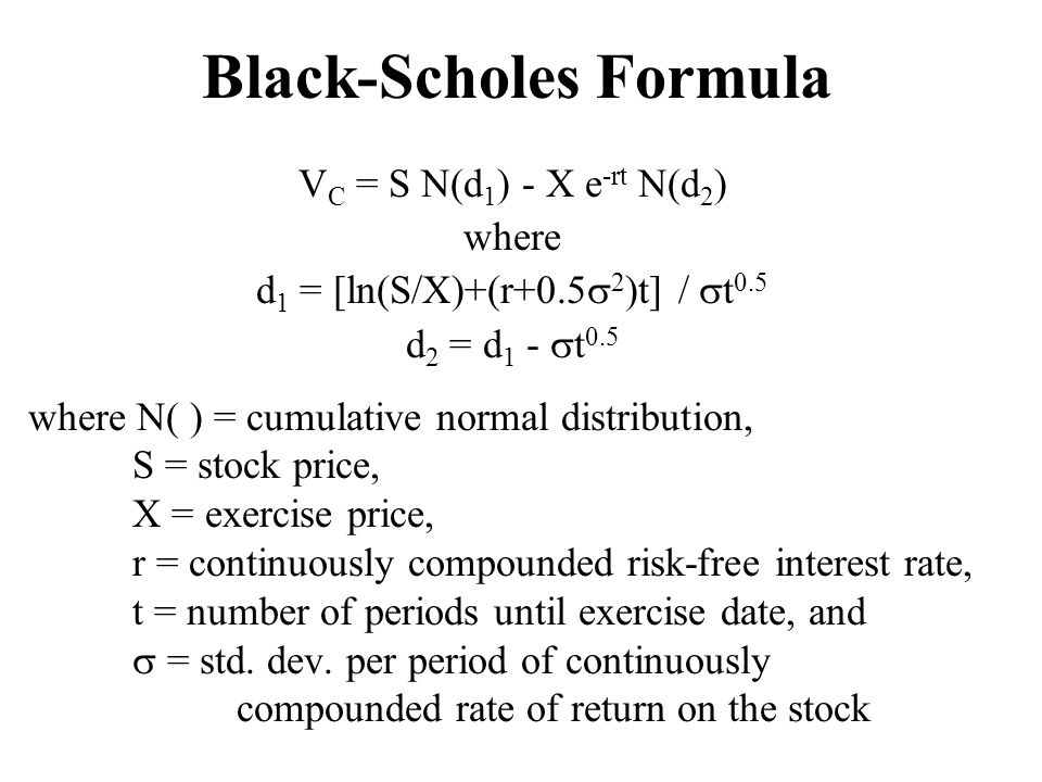 Black-Scholes Formula V C = S N(d 1 ) - X e -rt N(d 2 ) where d 1 = [ln(S/X)+(r+0.5  2 )t] /  t 0.5 d 2 = d 1 -  t 0.5 where N( ) = cumulative nor