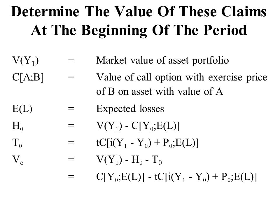 Determine The Value Of These Claims At The Beginning Of The Period V(Y 1 ) =Market value of asset portfolio C[A;B] =Value of call option with exercise