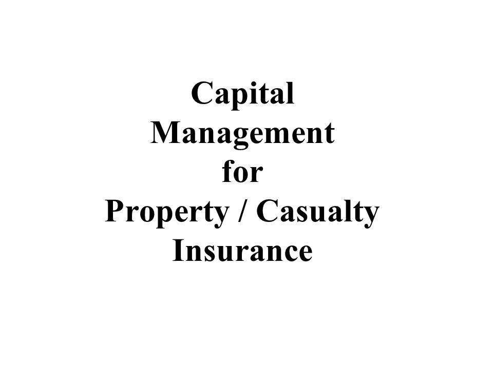 Capital Management for Property / Casualty Insurance