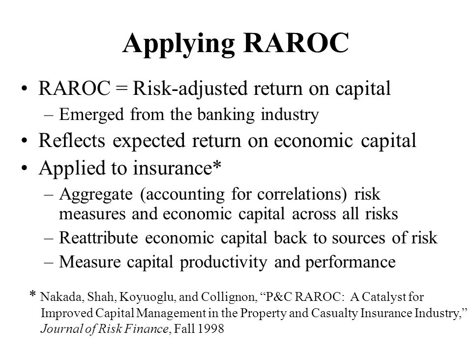 Applying RAROC RAROC = Risk-adjusted return on capital –Emerged from the banking industry Reflects expected return on economic capital Applied to insu
