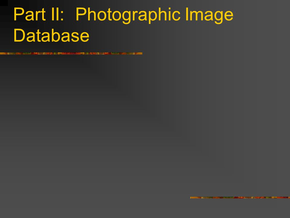 Part II: Photographic Image Database