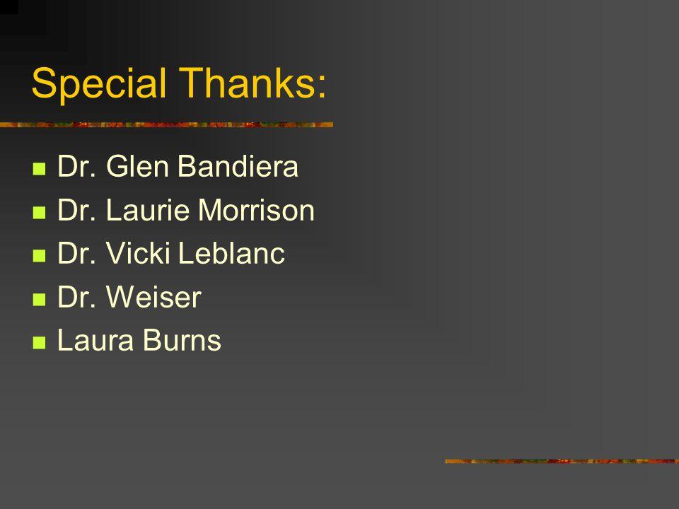 Special Thanks: Dr. Glen Bandiera Dr. Laurie Morrison Dr. Vicki Leblanc Dr. Weiser Laura Burns