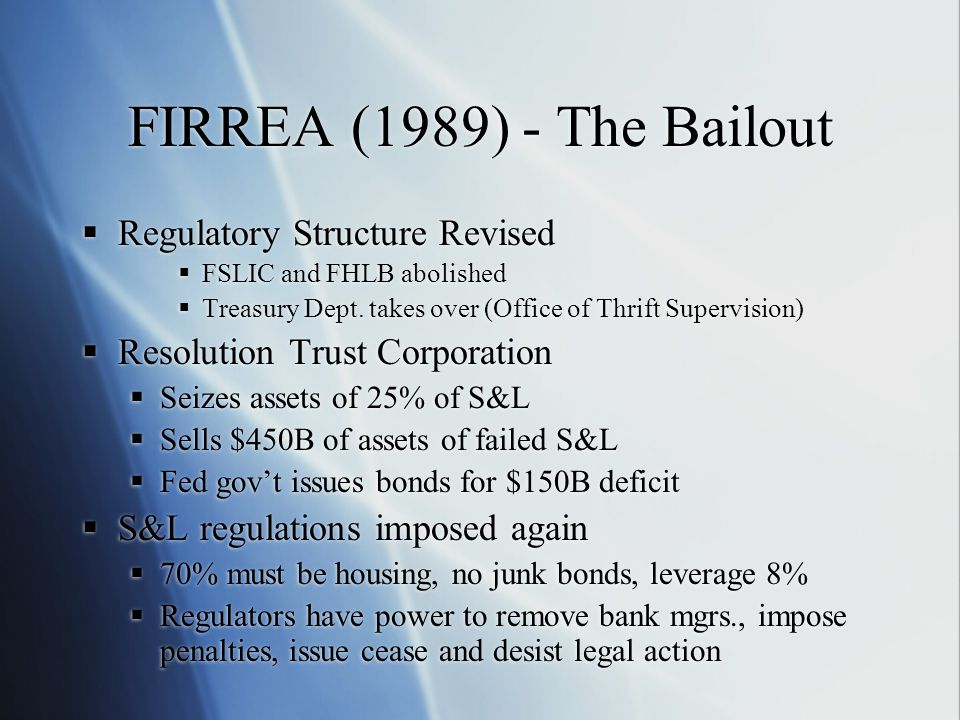 FIRREA (1989) - The Bailout  Regulatory Structure Revised  FSLIC and FHLB abolished  Treasury Dept.