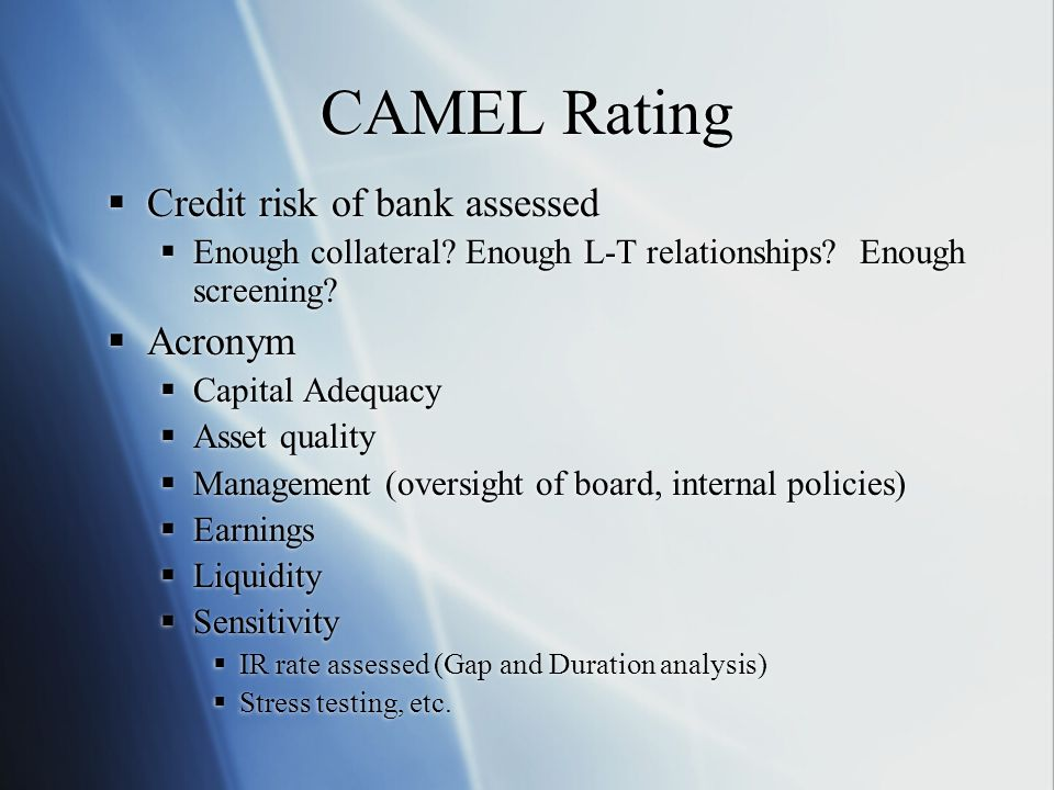 CAMEL Rating  Credit risk of bank assessed  Enough collateral? Enough L-T relationships? Enough screening?  Acronym  Capital Adequacy  Asset qual