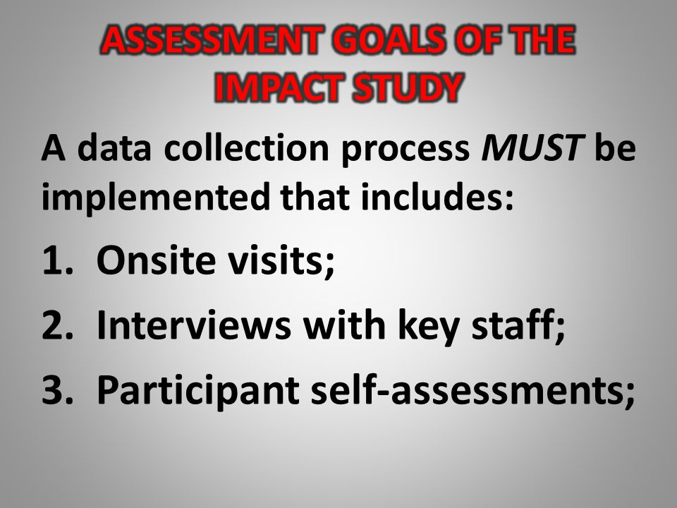 A data collection process MUST be implemented that includes: 1.Onsite visits; 2.Interviews with key staff; 3.Participant self-assessments;