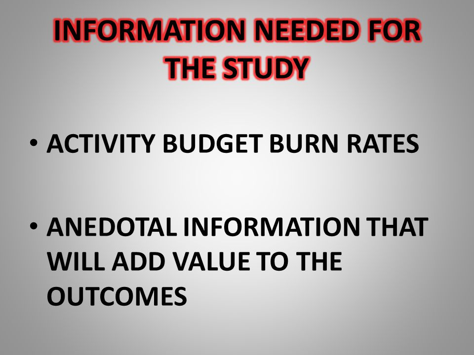 ACTIVITY BUDGET BURN RATES ANEDOTAL INFORMATION THAT WILL ADD VALUE TO THE OUTCOMES