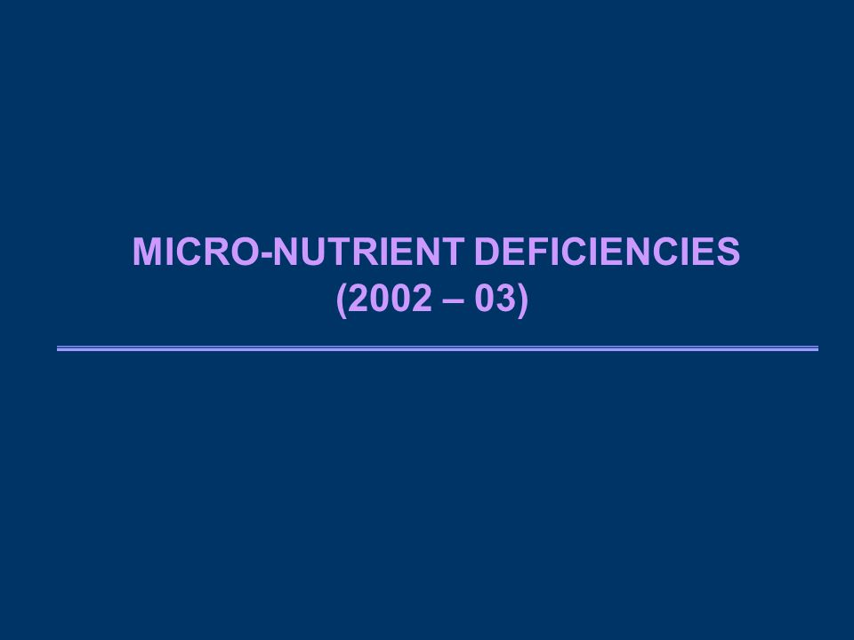 MICRO-NUTRIENT DEFICIENCIES (2002 – 03)