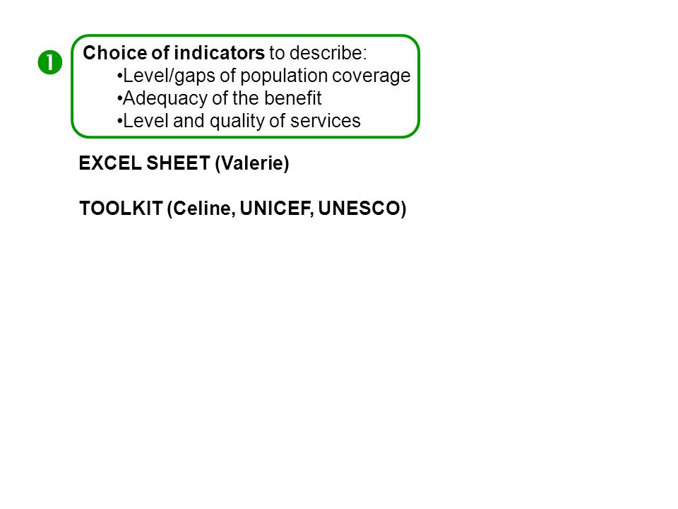 Choice of indicators to describe: Level/gaps of population coverage Adequacy of the benefit Level and quality of services  EXCEL SHEET (Valerie) TOOLKIT (Celine, UNICEF, UNESCO)