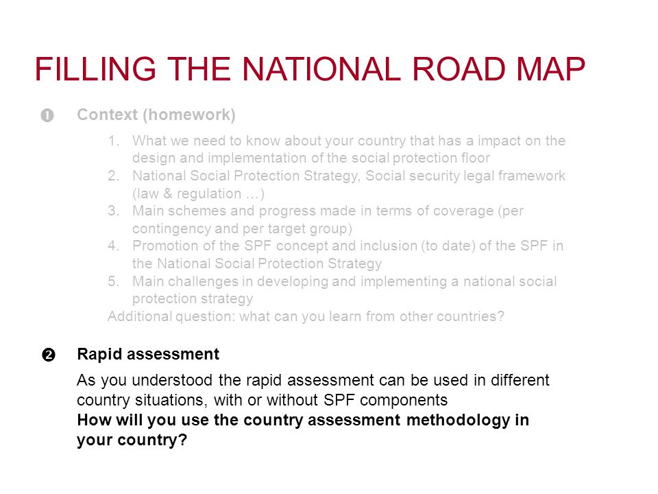 As you understood the rapid assessment can be used in different country situations, with or without SPF components How will you use the country assessment methodology in your country.