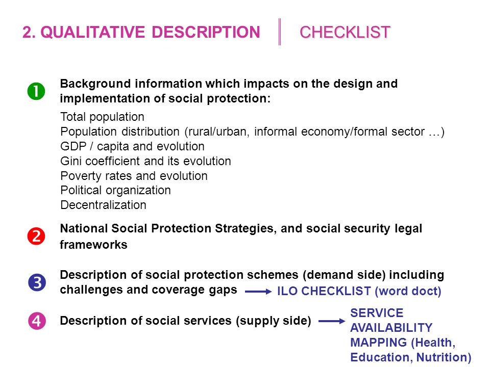Choice of indicators to describe: Level/gaps of population coverage Adequacy of the benefit Level and quality of services  Legal coverage Effective coverage Adequacy of the benefit A1A2A3 Level and quality of services available B1 HEALTHNumber of persons covered by law / Target population Number of beneficiaries / Target population ??.