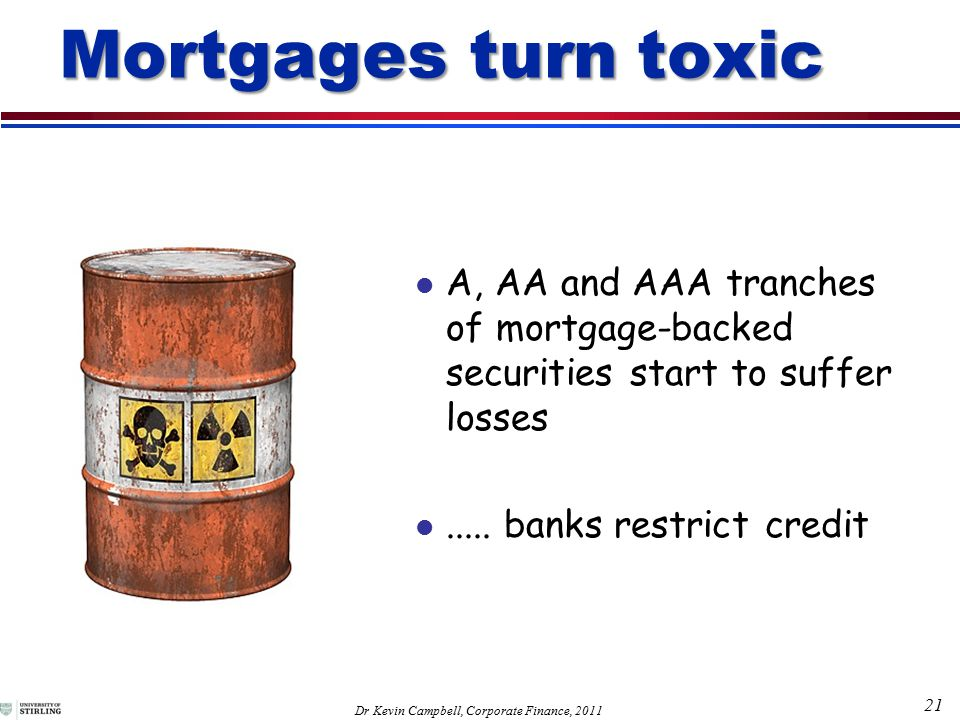 21 Dr Kevin Campbell, Corporate Finance, 2011 Mortgages turn toxic A, AA and AAA tranches of mortgage-backed securities start to suffer losses.....