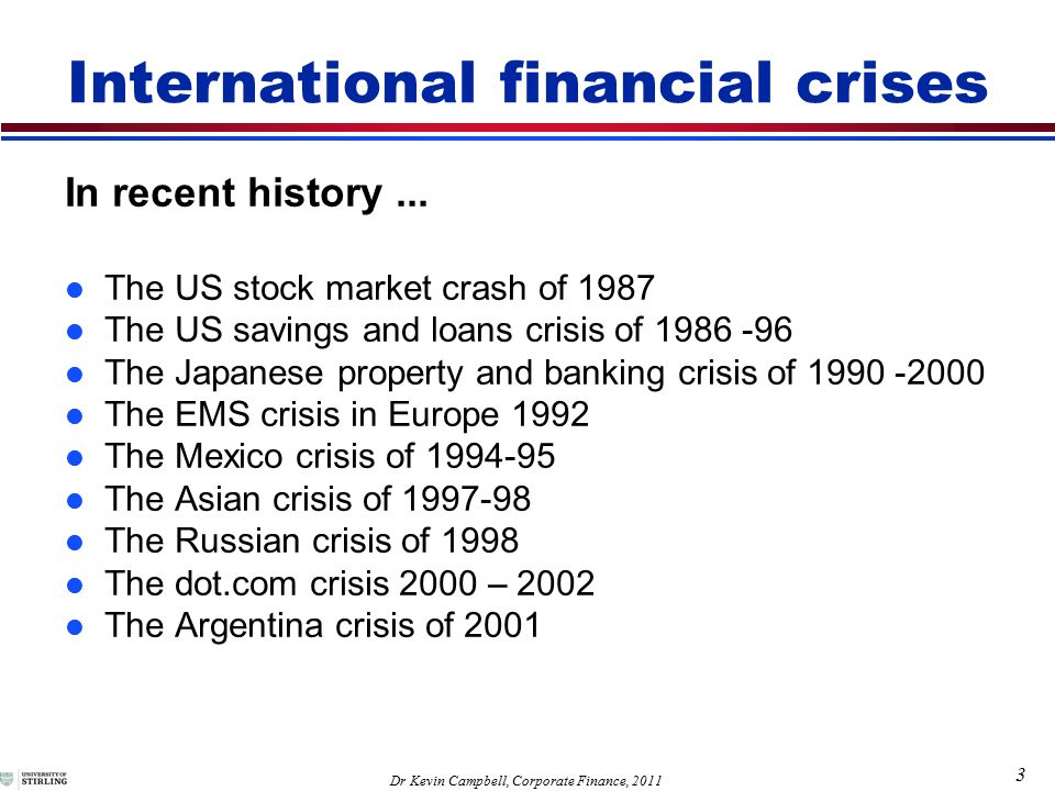 3 Dr Kevin Campbell, Corporate Finance, 2011 International financial crises In recent history...