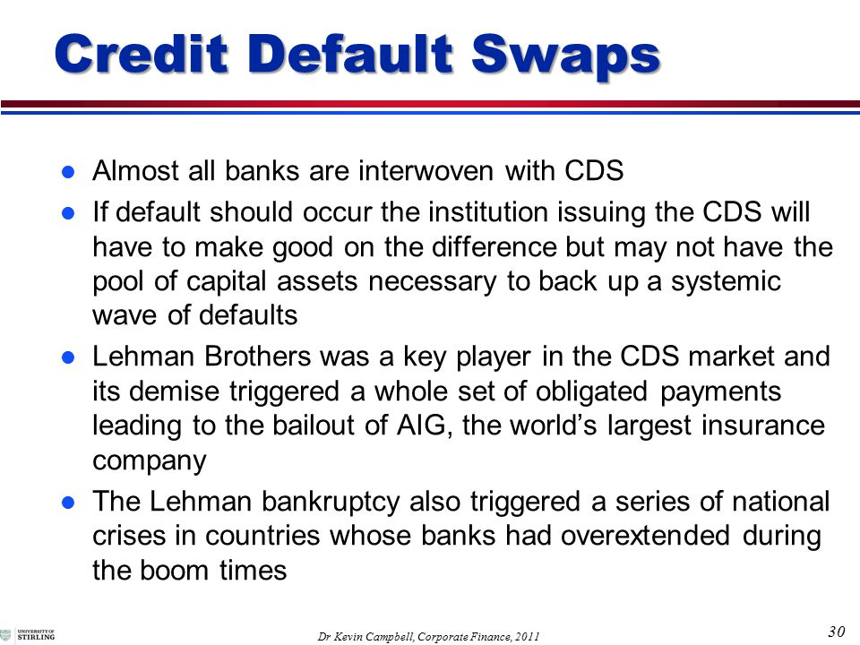 30 Dr Kevin Campbell, Corporate Finance, 2011 l Almost all banks are interwoven with CDS l If default should occur the institution issuing the CDS will have to make good on the difference but may not have the pool of capital assets necessary to back up a systemic wave of defaults l Lehman Brothers was a key player in the CDS market and its demise triggered a whole set of obligated payments leading to the bailout of AIG, the world's largest insurance company l The Lehman bankruptcy also triggered a series of national crises in countries whose banks had overextended during the boom times Credit Default Swaps